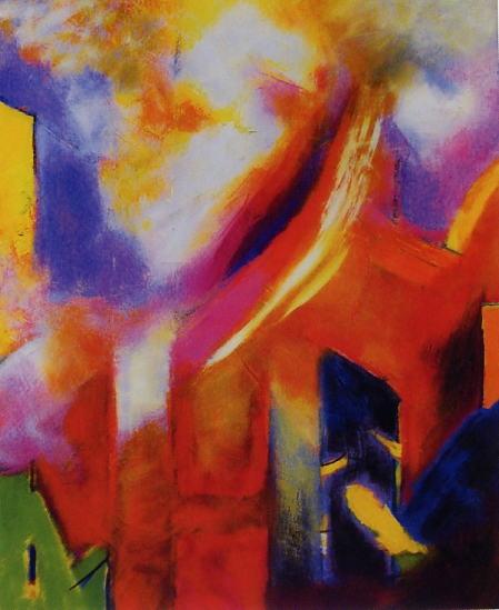 Fuochi 2008 /Tornando verso casa cm 50 x 60 - acr.  su tela