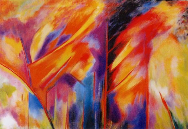 Fuochi 2008 /Alberi rossi cm 70 x 100 - acr.  su tela