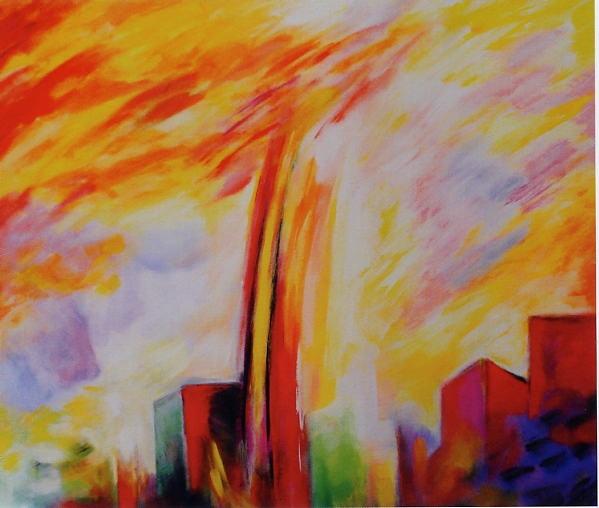 Fuochi 2008 /Ciminiere - cm 40 x 60 acrilico su tela