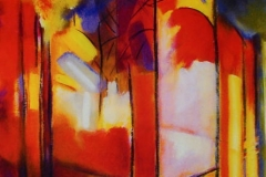 Fuochi 2008 /Cattedrale cm 50 x 60 - acr.  su tela